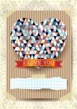 Walentynki karta z oszałamiająco sercem Zdjęcia Stock