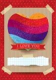 Walentynki karta z oszałamiająco sercem Obraz Stock