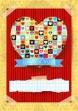 Walentynki karta z oszałamiająco sercem Zdjęcie Stock