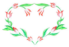 Walentynki karta z ręka malującymi tulipanami Obrazy Royalty Free