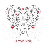 Walentynki karta z rogaczem i sercami Obrazy Stock