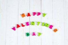 Walentynki karta z Szczęśliwym walentynki czerwieni i teksta dzianiem on Obrazy Stock