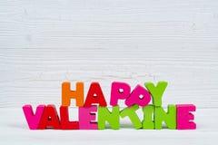 Walentynki karta z Szczęśliwym walentynki czerwieni i teksta dzianiem on Zdjęcie Stock