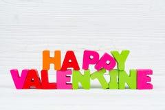 Walentynki karta z Szczęśliwym walentynki czerwieni i teksta dzianiem on Zdjęcia Stock