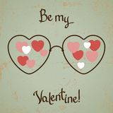 Walentynki karta z szkłami, serce Rocznika projekt Obraz Stock
