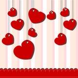 Walentynki karta z wieszającymi sercami ilustracji