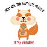 Walentynki karta z wiewiórczą i śmieszną wiadomością royalty ilustracja
