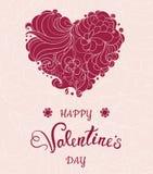 Walentynki kartka z pozdrowieniami z czerwonym sercem na kwiecistym tle Fotografia Stock