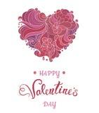 Walentynki kartka z pozdrowieniami z kwiecistym ozdobnym sercem i literowaniem Fotografia Stock
