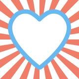 Walentynki kierowy kształt na sunburst tle Zdjęcie Stock