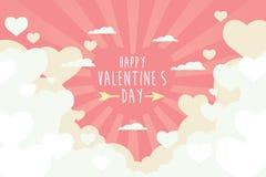 Walentynki kierowy latanie na niebo abstrakta tle złudzenie Zdjęcie Stock