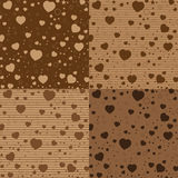 Walentynki kolorowy serce na Brown czekolady wzorze i dzień Wektorowy walentynka dnia tło Obrazy Stock