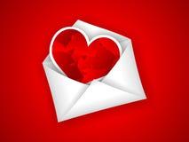 Walentynki koperta z czerwonym sercem Obrazy Royalty Free