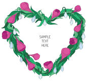 Walentynki kwiecista rama Zdjęcia Royalty Free