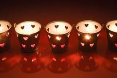 Walentynki lght świeczki herbaciani właściciele Zdjęcia Stock