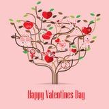 Walentynki miłości ikony drzewo Zdjęcia Royalty Free