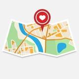 Walentynki miasta mapa Obrazy Royalty Free