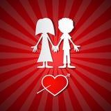 Walentynki Papierowy Czerwony tło Ilustracja Wektor