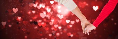 Walentynki pary mienia ręk i miłość serc tło Zdjęcie Royalty Free
