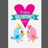Walentynki piękna karta z para ptakami Obrazy Stock