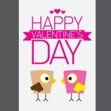 Walentynki piękna karta z para ptakami Zdjęcia Royalty Free