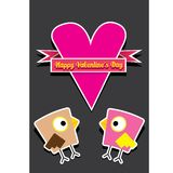 Walentynki piękna karta z para ptakami Zdjęcie Royalty Free
