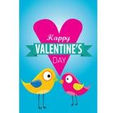 Walentynki piękna karta z para ptakami Fotografia Stock