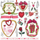 Walentynki, poślubia ramy, wystrojów elementy Obraz Stock