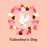 Walentynki powitania ilustracja z wiankiem i gołąbką Obrazy Royalty Free