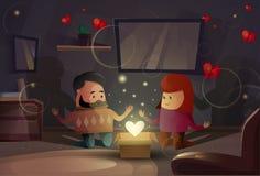 Walentynki prezenta karty pary kochanków Wakacyjnego Nowożytnego mieszkania kształta Kierowy świętowanie Fotografia Royalty Free