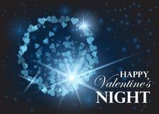 Walentynki przyjęcia projekta karty sztandar z fajerwerkami Wektorowa szczęśliwa valentine miłości plakata ilustracja strona ilustracji