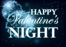 Walentynki przyjęcia projekta karty sztandar z fajerwerkami Wektorowy szczęśliwy valentine miłości plakat ilustracji