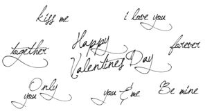 Walentynki ręka rysująca kaligrafia Ręki literowania tekst Odizolowywający na białym tle Dobry Dla kartka z pozdrowieniami, druku ilustracji