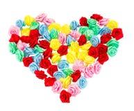 Walentynki ręki rzemiosła tasiemkowe róże robią jako kierowy sh Zdjęcia Stock