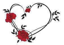Walentynki rama z różami ilustracji