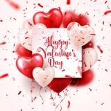 Walentynki s dnia abstrakcjonistyczny tło z czerwienią 3d szybko się zwiększać i confetti serce odizolowane kształtu white pomido ilustracja wektor