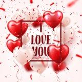 Walentynki s dnia abstrakcjonistyczny tło z czerwienią 3d szybko się zwiększać i confetti serce odizolowane kształtu white pomido royalty ilustracja