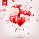 Walentynki s dnia abstrakcjonistyczny tło z czerwienią 3d szybko się zwiększać i confetti serce odizolowane kształtu white pomido ilustracji