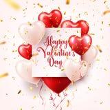 Walentynki s dnia abstrakcjonistyczny tło z czerwienią 3d szybko się zwiększać i złoci confetti serce odizolowane kształtu white  ilustracja wektor