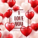 Walentynki s dnia abstrakcjonistyczny tło z czerwienią 3d szybko się zwiększać serce odizolowane kształtu white pomidorowego Luty ilustracji