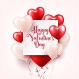 Walentynki s dnia abstrakcjonistyczny tło z czerwienią 3d szybko się zwiększać serce odizolowane kształtu white pomidorowego Luty ilustracja wektor