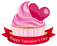 Walentynki s dnia babeczka z faborkiem Zdjęcie Stock