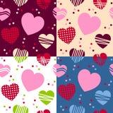 Walentynki s dnia Bezszwowi wzory Zdjęcia Stock
