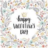 Walentynki ` s dnia Callygraphic wianek - wręcza patroszonego Obraz Stock