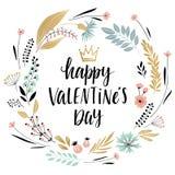 Walentynki ` s dnia Callygraphic wianek - wręcza patroszonego Zdjęcia Stock