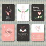 Walentynki ` s dnia kartka z pozdrowieniami doodle stylu wektorowa kolekcja Fotografia Royalty Free