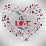 Walentynki ` s dnia kartka z pozdrowieniami z dużym sercem i elementami strzałkowatymi Obrazy Stock