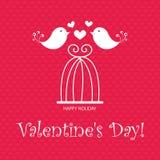 Walentynki ` s dnia kartka z pozdrowieniami z ptakami i szydełkowym wektor Zdjęcie Stock