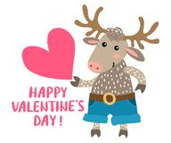 Walentynki ` s dnia kartka z pozdrowieniami z rogaczem Fotografia Royalty Free