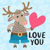 Walentynki ` s dnia kartka z pozdrowieniami z rogaczem Obraz Royalty Free